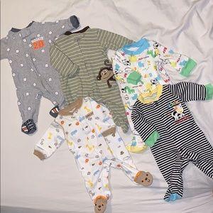 Other - 5 piece Bundle of NB footed pajamas- EUC